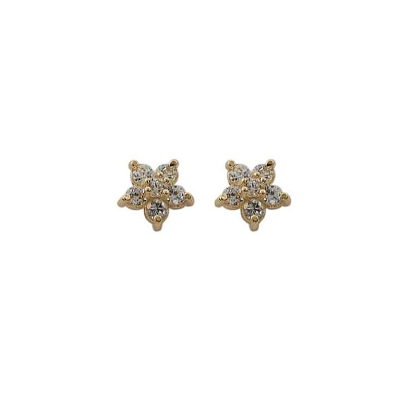 925 Sterling Silver Plated 14k Gold Pavé Crystal Five Pointed Star Earrings Women Simple Fashion Wedding Jewelry Accessories Love The Shop